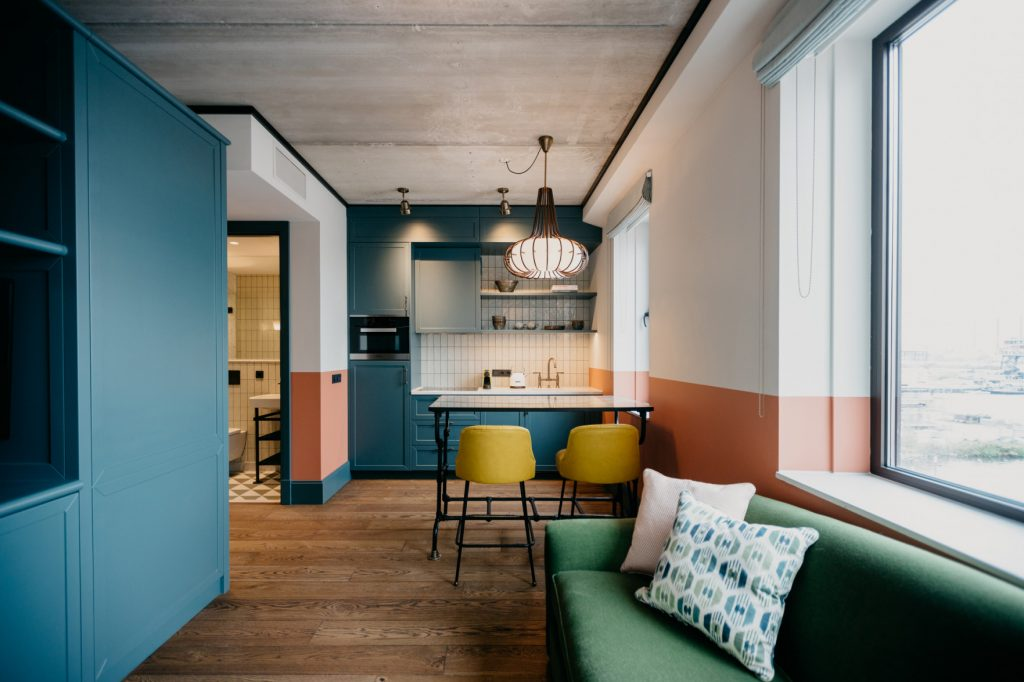 Living space at the Boat & Co Apartments in Amsterdam