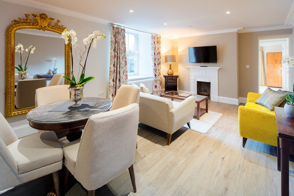 Living and dining area at Beech House Apartments