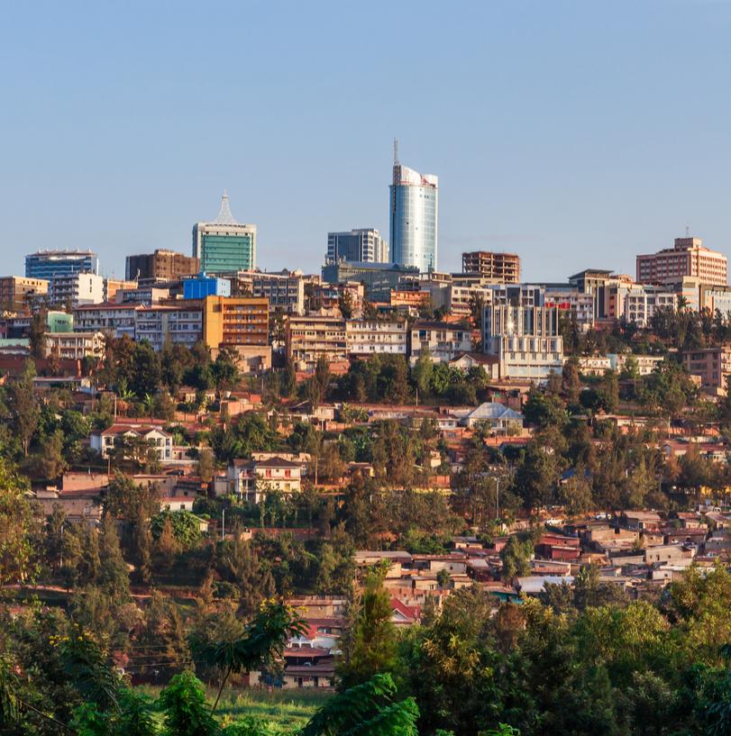 Rwanda's Lake Kivu and national flag