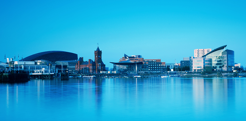 View of Cardiff Bay's skyline, Wales