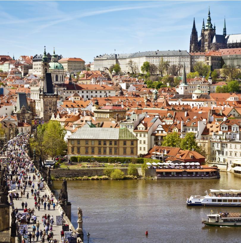 Czech Republic national flag and capital city, Prague