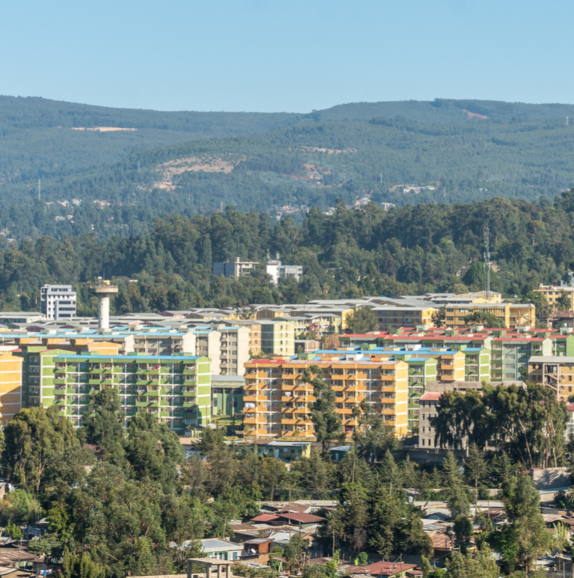 Aerial view of Addis Ababa city in Ethiopia and flag