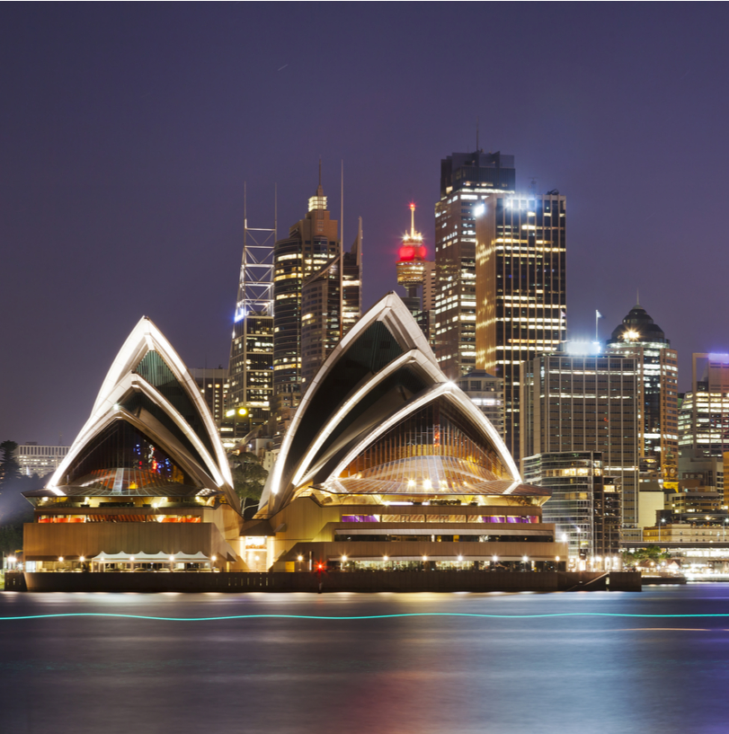 Australian flag and Sydney Harbour skyline