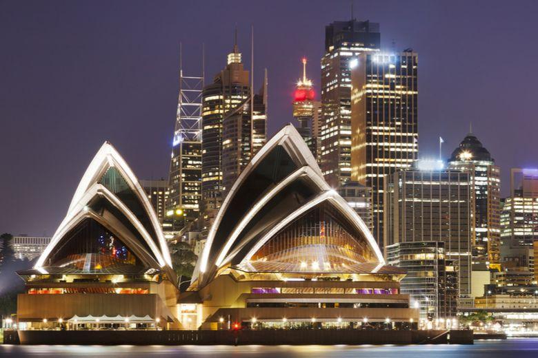 Australian flag and Sydney Harbour skyline