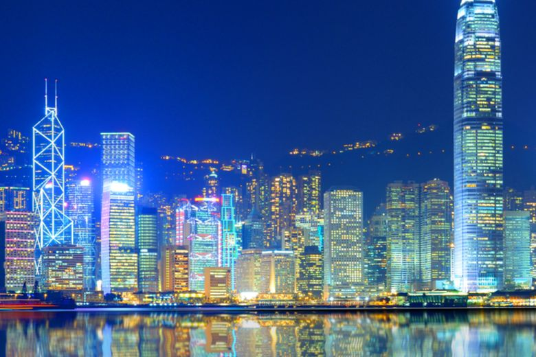 Skyline of Hong Kong and the country's flag