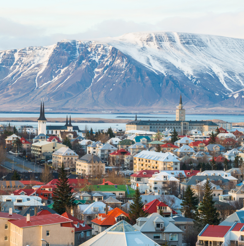 Iceland's capital city, Reykjavik and national flag