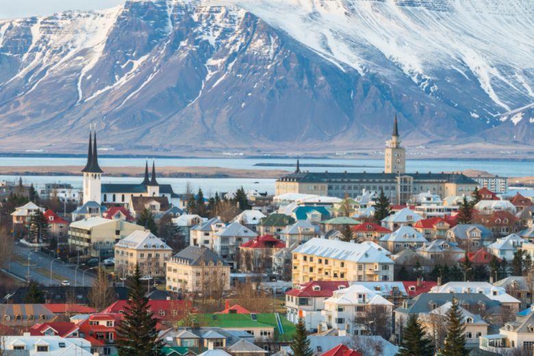 Iceland's capital city, Reykjavik and national flag