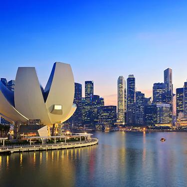 View of Singapore's city skyline and Marina Bay
