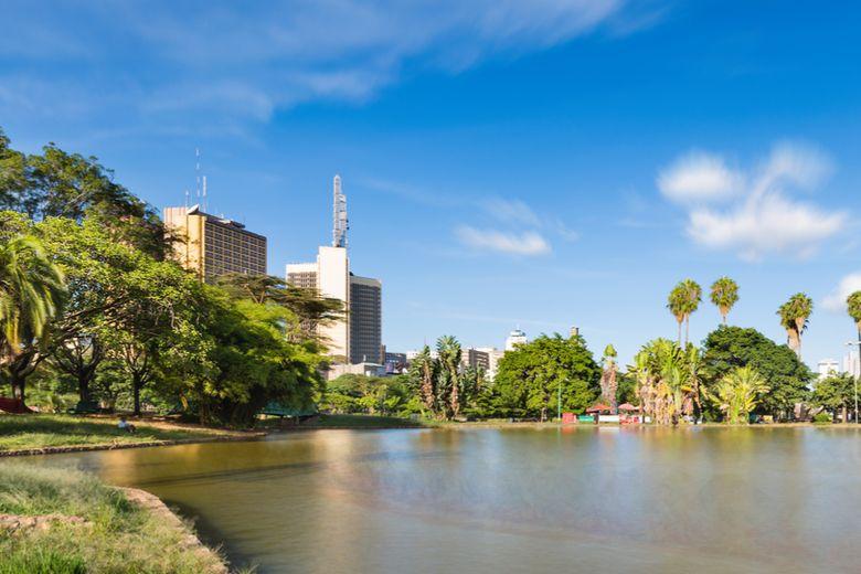 Ivory Avenue in Mombasa, Kenya and national flag