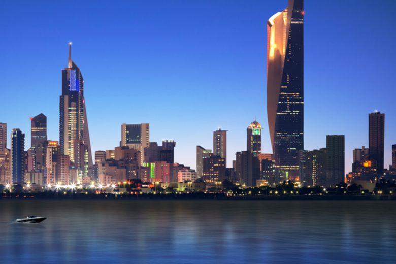 Kuwait skyline and national flag