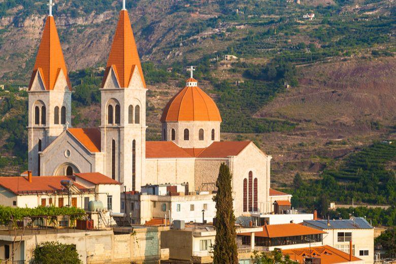 Lebanon's city centre skyline and national flag