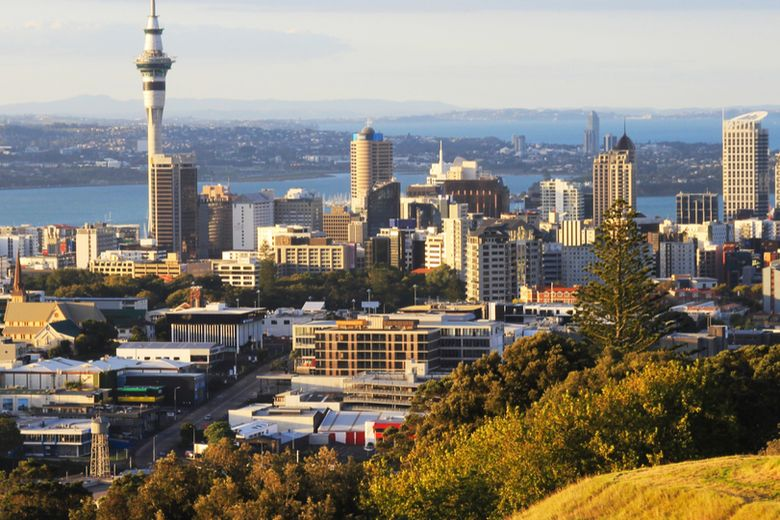 New Zealand's capital city skyline and national flag