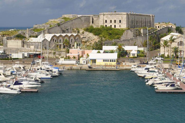 Skyline of Hamilton, Bermuda and the national flag