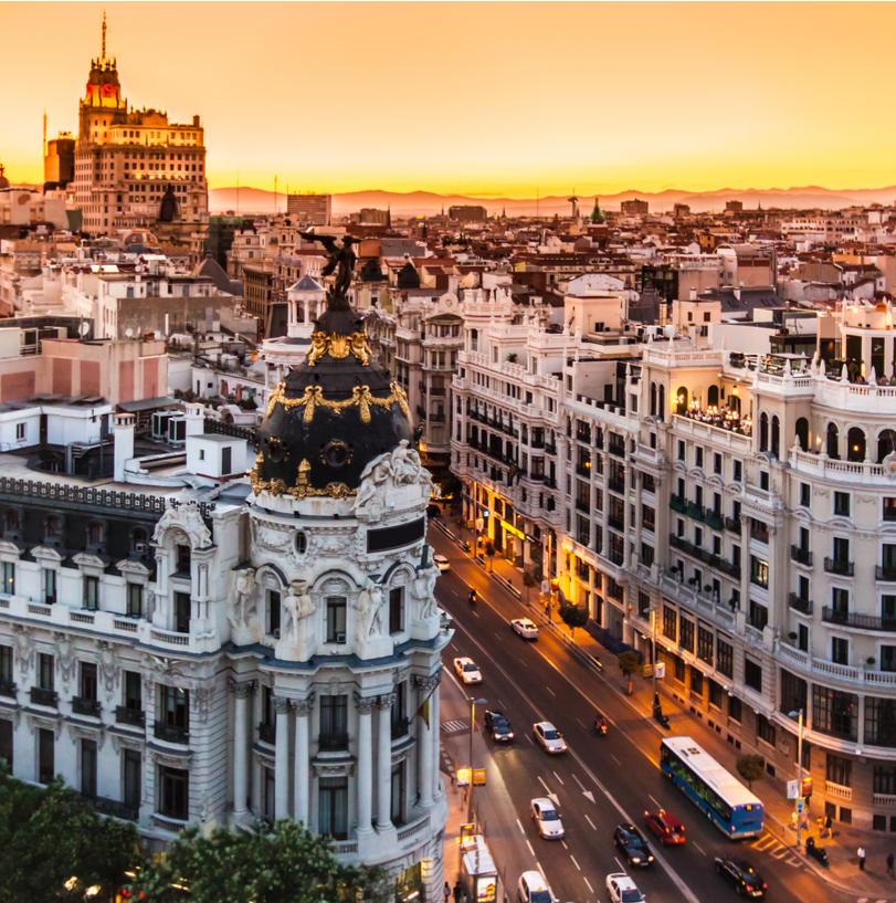 The city of Madrid and the Spanish flag