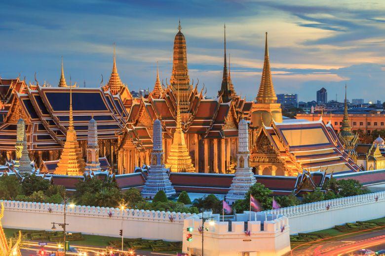 Thailand's national flag and the city of Bangkok during Loy Krathong