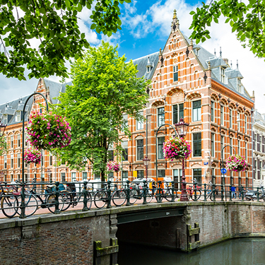 View from bridge over canal in Amsterdam