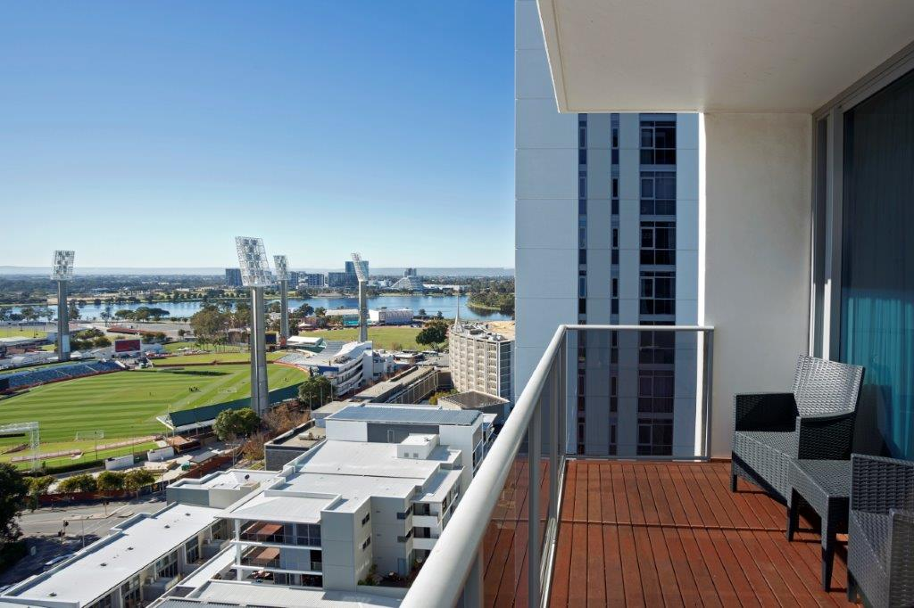 Balcony view at Fraser Suites Perth