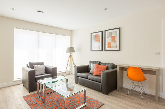 Stylish living area at Solstice House Apartments