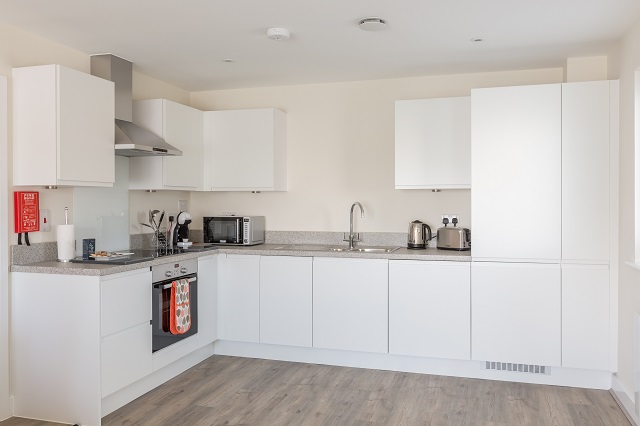 Modern kitchen at Solstice House Apartments