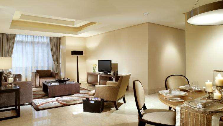 Living and dining area at The Ritz-Carlton Jakarta Apartments