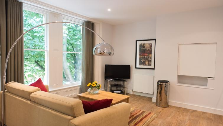 Stylish living area at Jubilee House Apartments