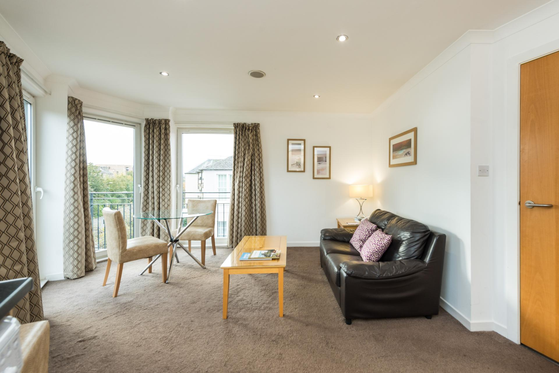 Bright living area at Harris Apartments, West End, Edinburgh