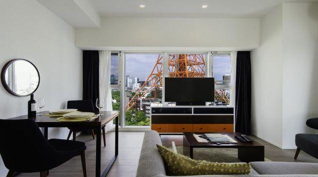 Living space at Oakwood Apartments Azabudai