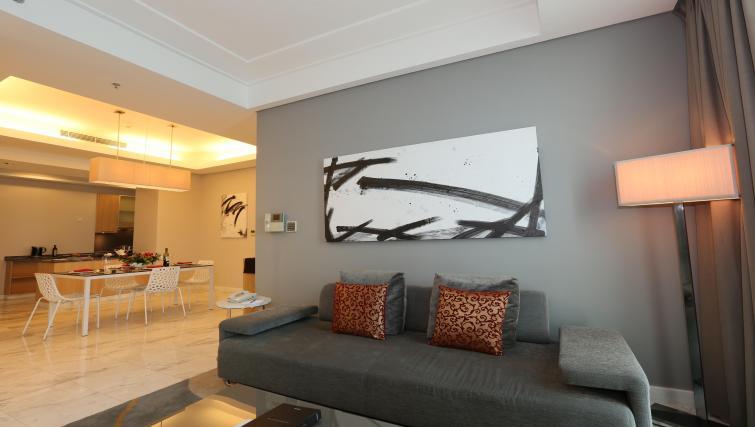 Stylish lounge area at Fraser Residence Sudirman Jakarta