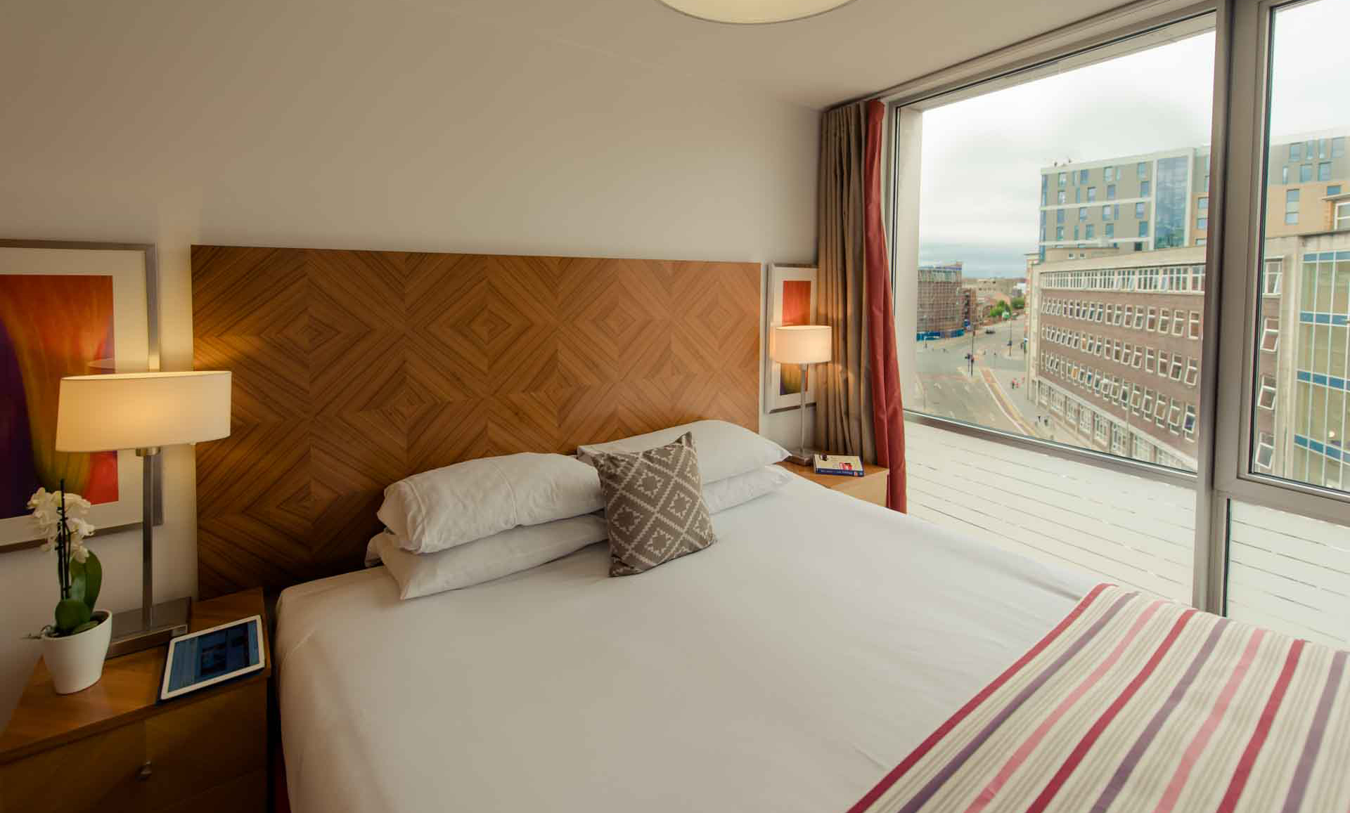 Double bed at Premier Suites Liverpool