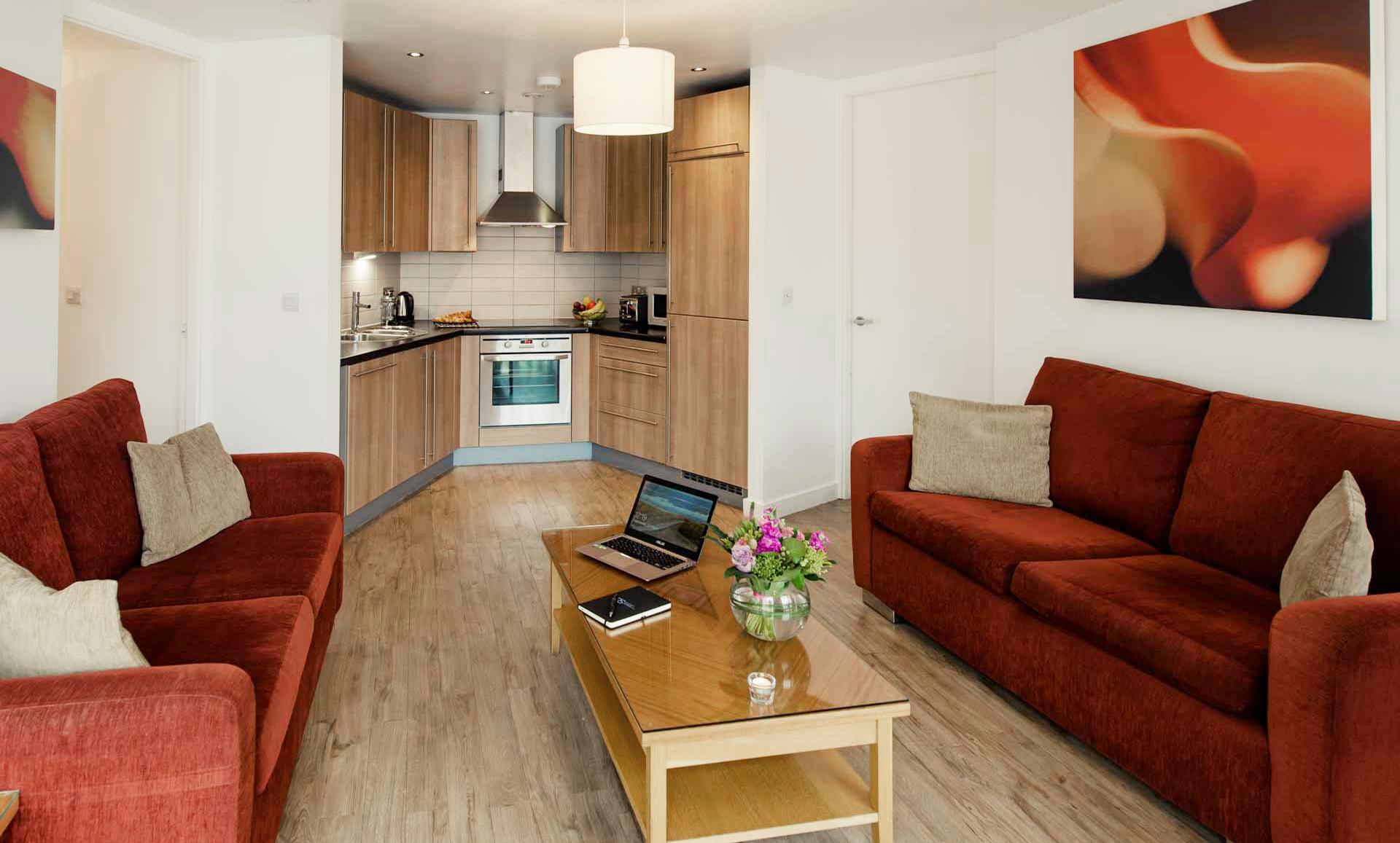 Kitchen area at Premier Suites Liverpool