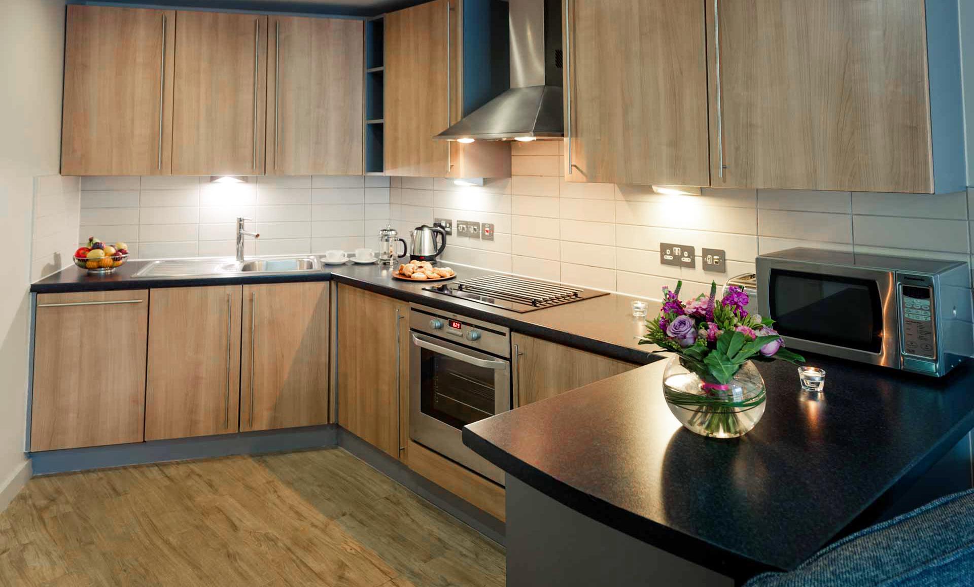 Kitchen at Premier Suites Liverpool