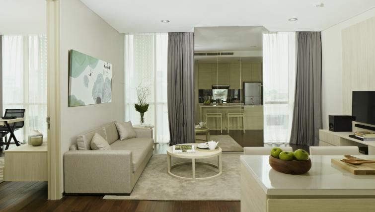 Stylish living area at Fraser Residence Menteng Jakarta