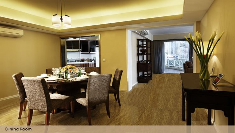 Bright kitchen in Oakwood Gold Arch Residence Guangzhou