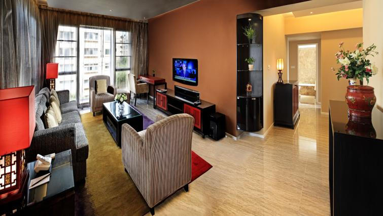 TV in living area at Oakwood Gold Arch Residence Guangzhou