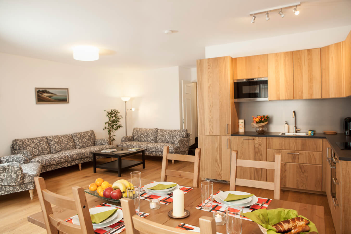 Spacious kitchen area at Töngesgasse Apartments