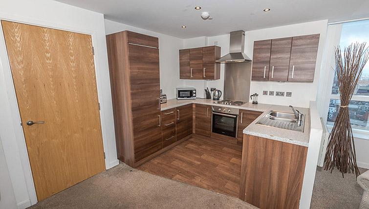 Kitchen facilities at Dream Apartments Belfast Obel