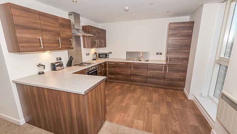 Large kitchen at Dream Apartments Belfast Obel