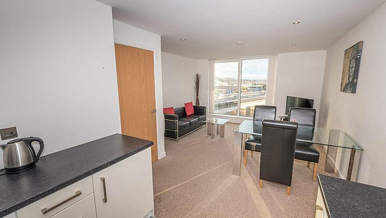 Open plan living area at Dream Apartments Belfast Obel