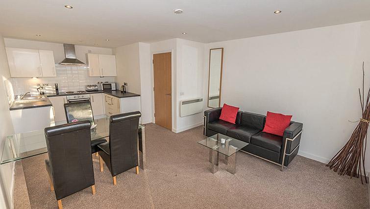 Living space at Dream Apartments Belfast Obel