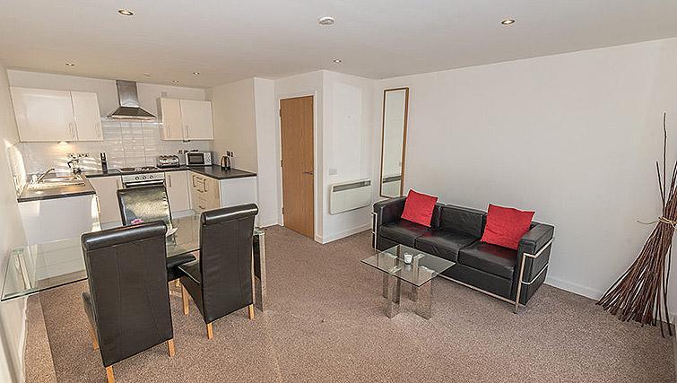 Living area/kitchen at Dream Apartments Belfast Obel