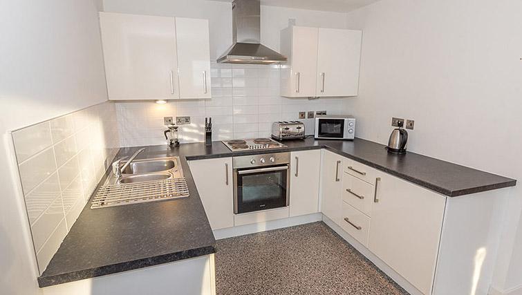 Kitchen at Dream Apartments Belfast Obel