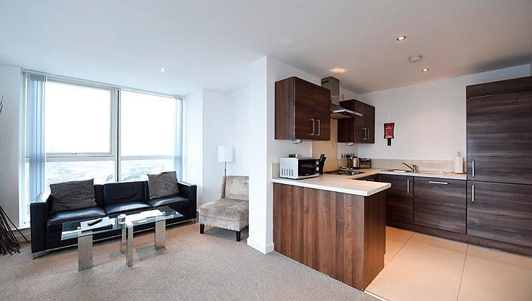 Bright living area at Dream Apartments Belfast Obel