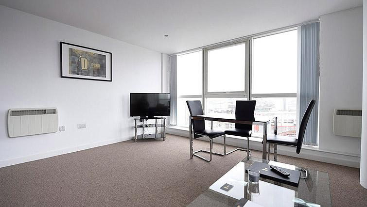 Open plan dining area at Dream Apartments Belfast Obel