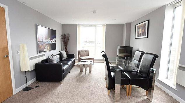 Living area at Dream Apartments Belfast Obel