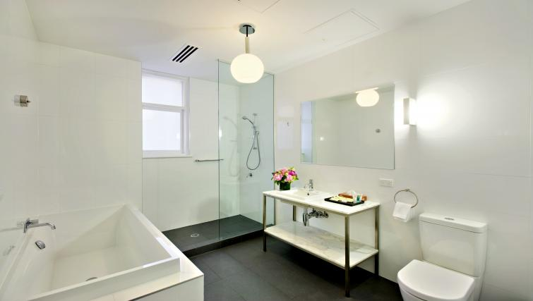 Immaculate bathroom at Seasons Heritage Melbourne Apartments