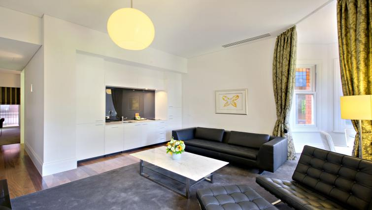 Luxurious lounge area at Seasons Heritage Melbourne Apartments