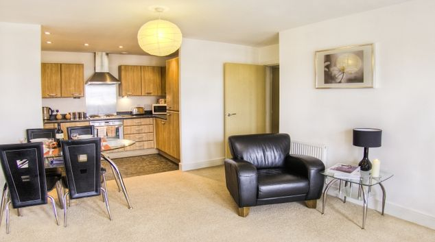 Bright living area in WaterSide Park Apartments
