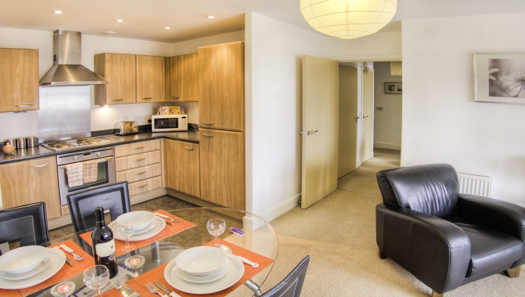 Contemporary kitchen in WaterSide Park Apartments