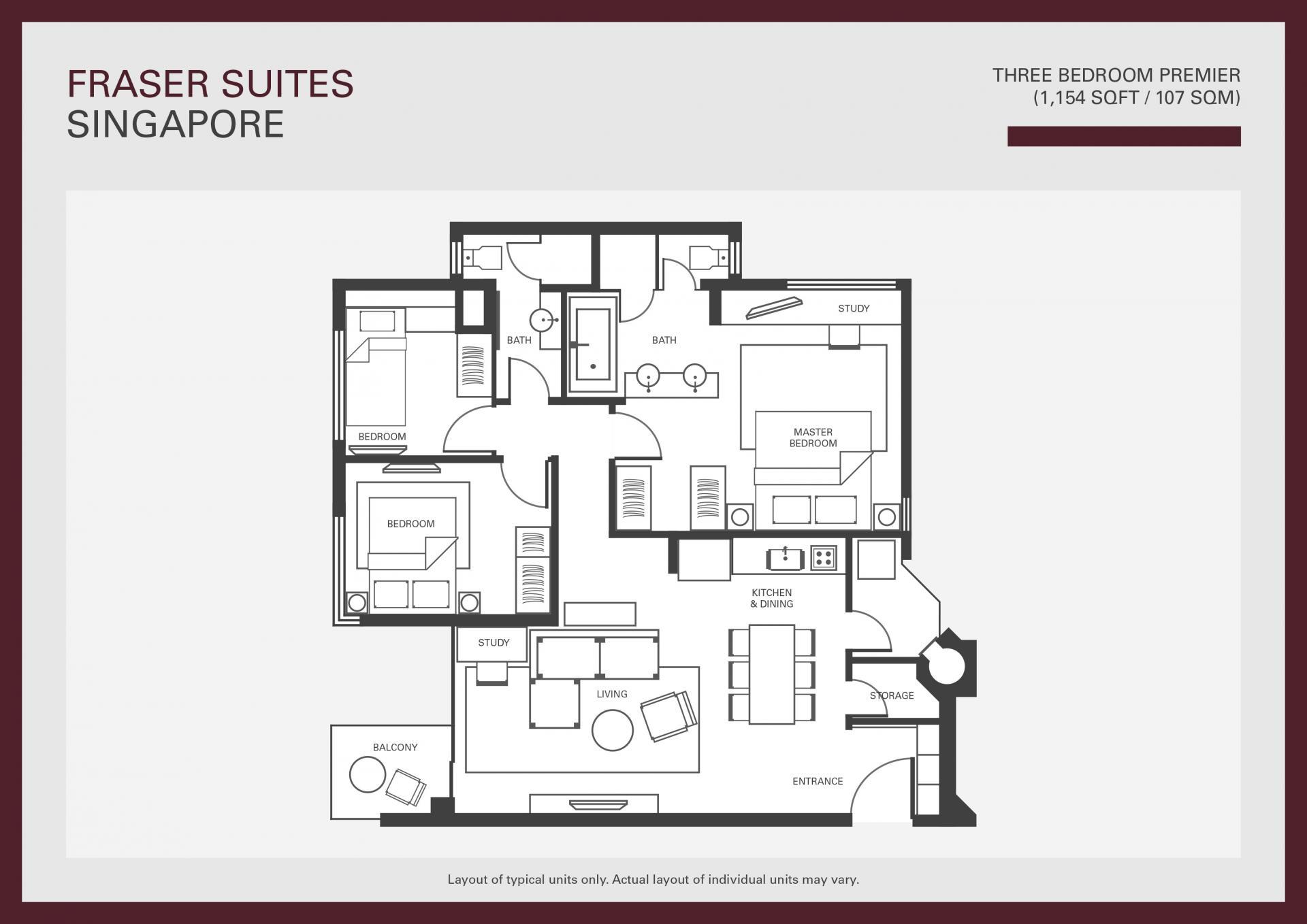 Floorplan 3 at Fraser Suites Singapore