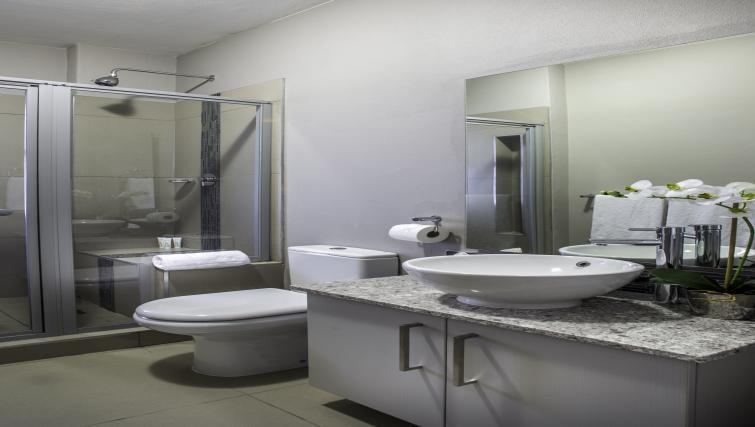 Clean bathroom at Bryanston Drive Apartments